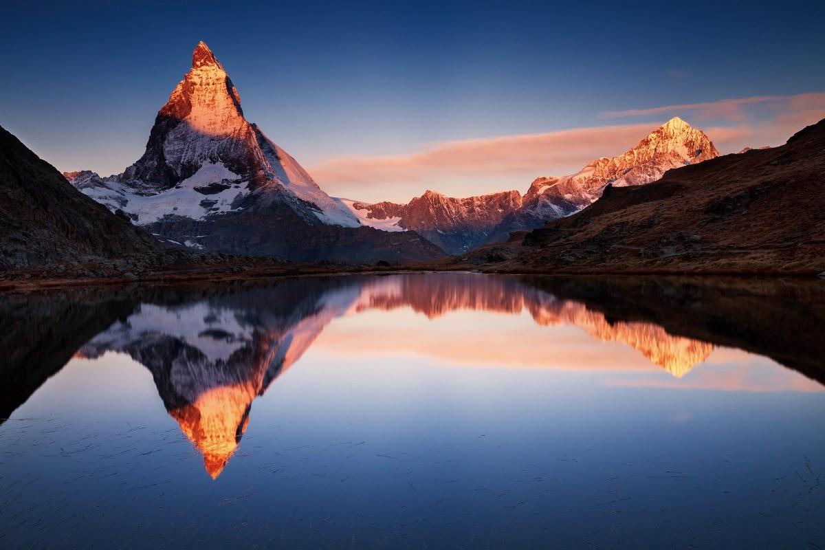 Nature coucher du soleil paysage montagne lac r flexion or kb343 salon maison moderne d cor bois - Photo coucher de soleil montagne ...