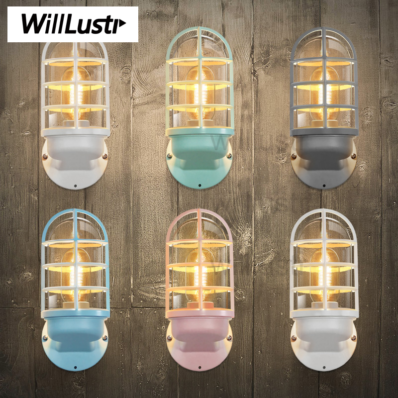 Willlustr Iron Colorful Wall Lamp lighting vintage bulb light doorway foyer porch loft industrial clear glass shade Wall sconce