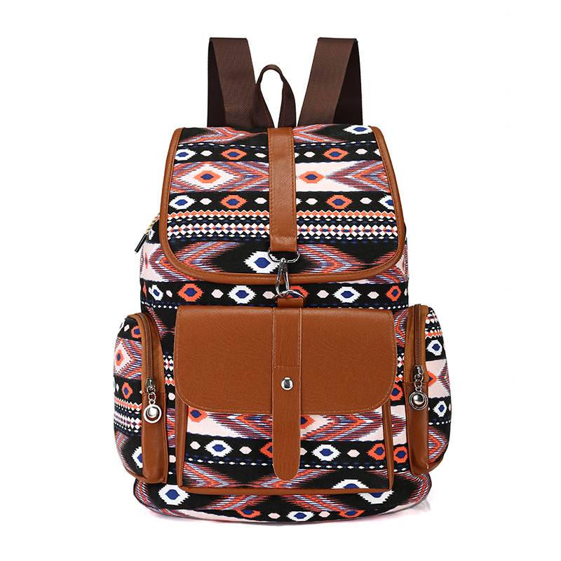 New Women Canvas Backpacks Ladies Shoulder Bag Rucksack School Bags For Girls Teenagers Travel Boho Bohemia Style Printing Bag 2017 new women leather backpacks students school bags for girls teenagers travel rucksack mochila candy color small shoulder bag