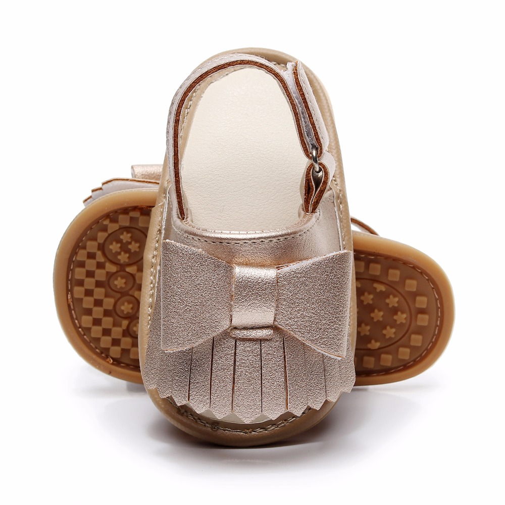 2019 Summer Toddler Bebe Solid Christening Party Baby Girls Dress Sandals,Infant Fringe Bow Gold Baby Moccasins Sandals Shoes