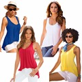 women's solid sleeveless Irregular tank tops casual summer beach sun Loose Workout Quick Dry Vest Singlet t-shirt