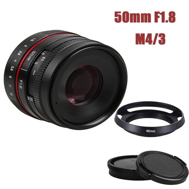 50mm f/1.8 APS C F1.8 Dellobiettivo di macchina fotografica per Olympus Panasonic M4/3 M43 MFT EP5 OMD EM5 e M1 E M1 Mark II E M5 E M5 Mirrorless Camera