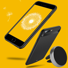 U2 внешний 7200 мАч Смарт Магнитный задняя ТПУ бампер Мощность пакет Батарея Зарядное устройство чехол для iPhone 7 Plus черный с автомобильный держатель