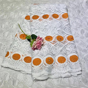 French Lace Fabric With Stone Silver Orange African Lace Fabric High Quality 2019 Net Lace Nigerian Material Wedding Dress(2-19