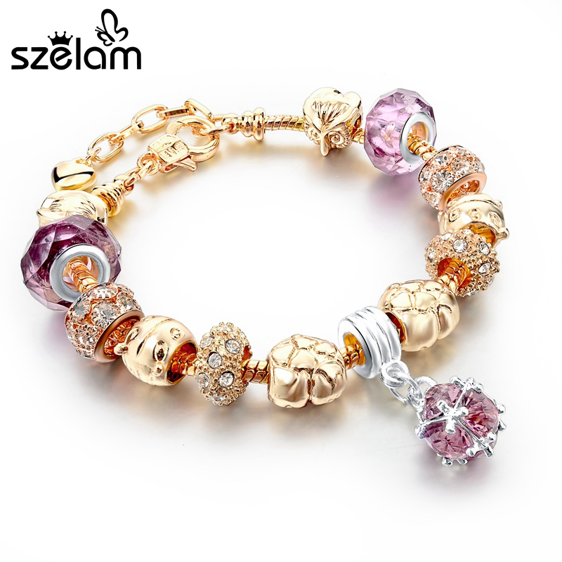 Szelam Women'S Fashion Jewelry Pink Crystal Bracelet For Women Gold Bracelets Bangles Handmade Jewelry Pulseras Sbr150331
