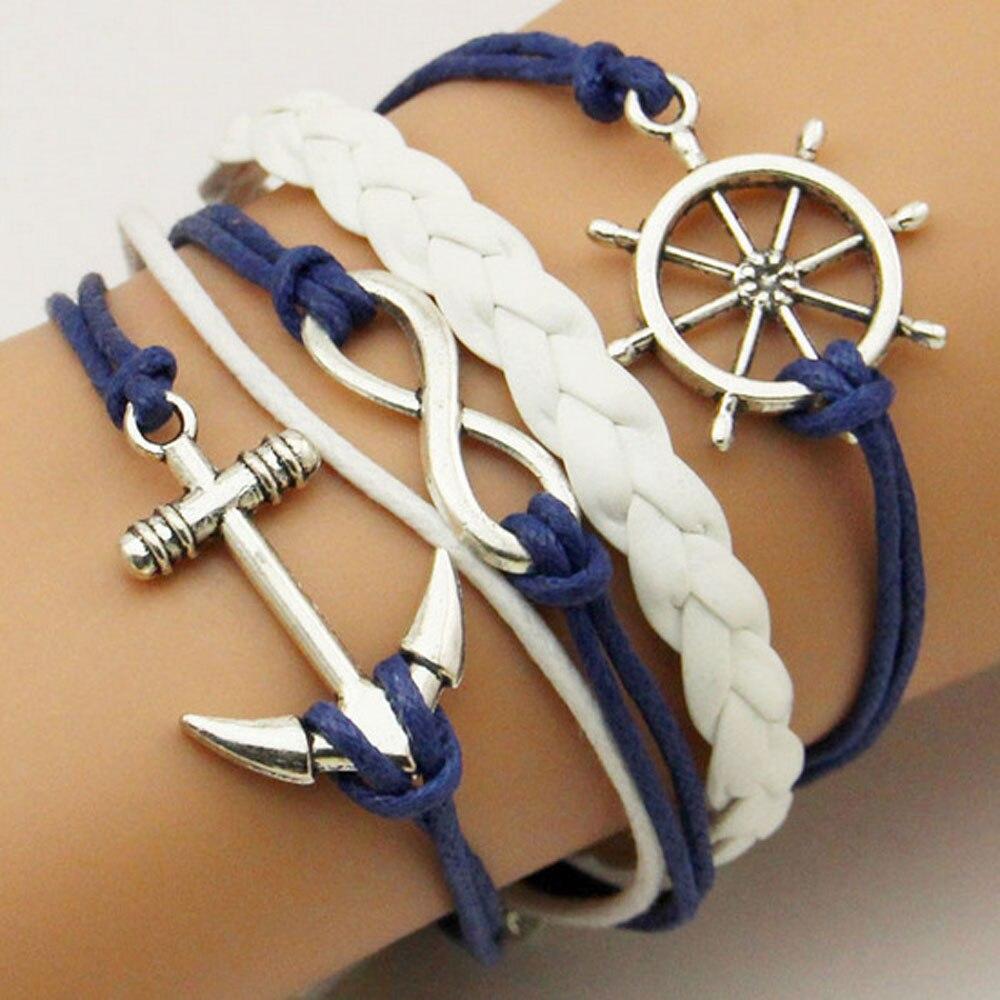 TOMTOSH New Handmade Wristband Braided Wax Cords Love Anchors