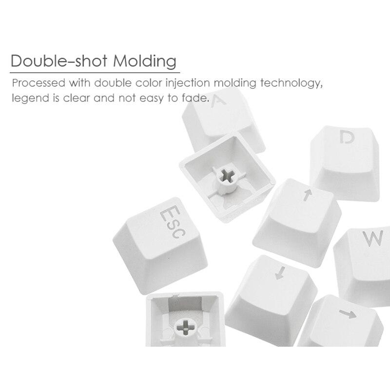 MantisTek 9Pcs ESC WASD Direcition Keys Double Color Injection Molding PBT  Keycaps Key Caps Red White With Keycap Puller