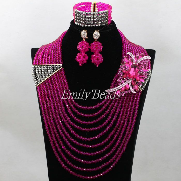 Fuchsia Pink Silver Crystal Beads Necklace Set 10 Layers Nigerian Wedding Costume African font b Jewelry