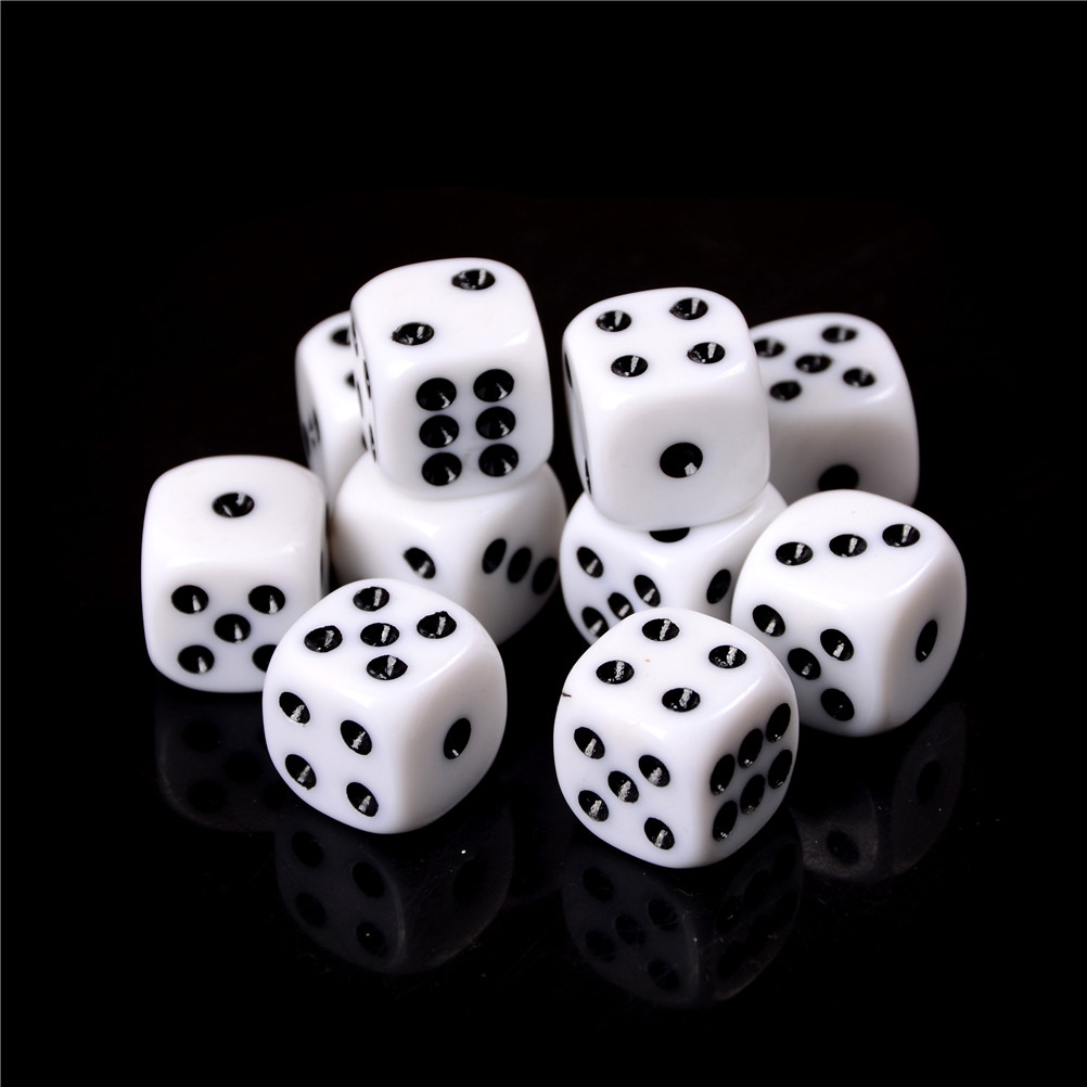 NEW Set of 20 White 16mm D6 Six Sided Game Dice Set