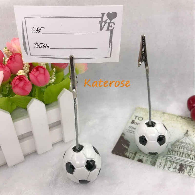(10pcs/Lot)FREE SHIPPING+Sports Collection Soccer Design Place Card Holder Name Card Clip Party Decoration Favors