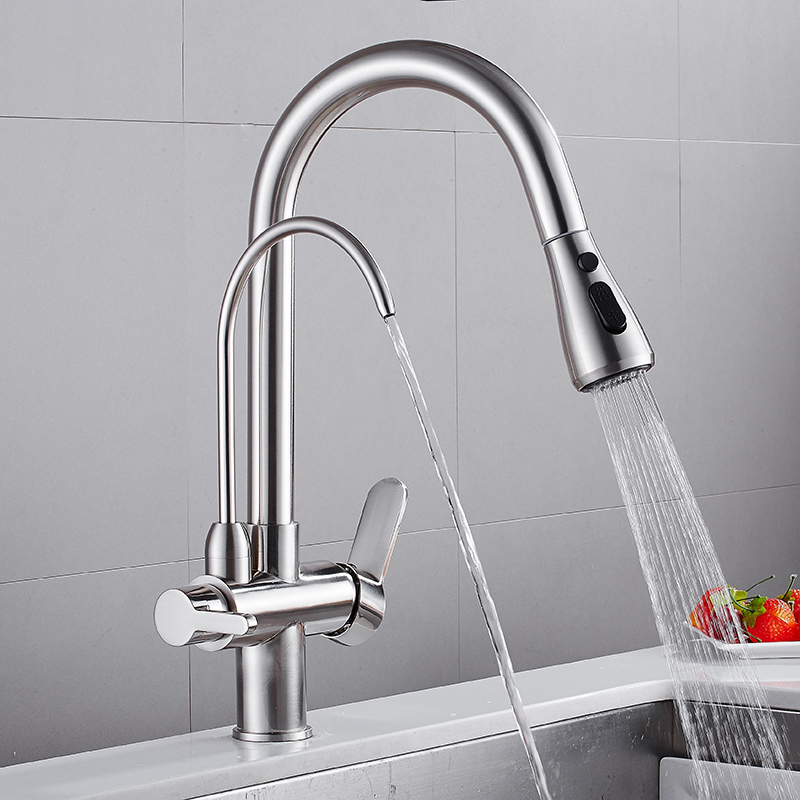Brass Brushed Kitchen 3 Ways Purification Faucet Drinking Tap Pure Water Pull Down Faucet Dual Handle
