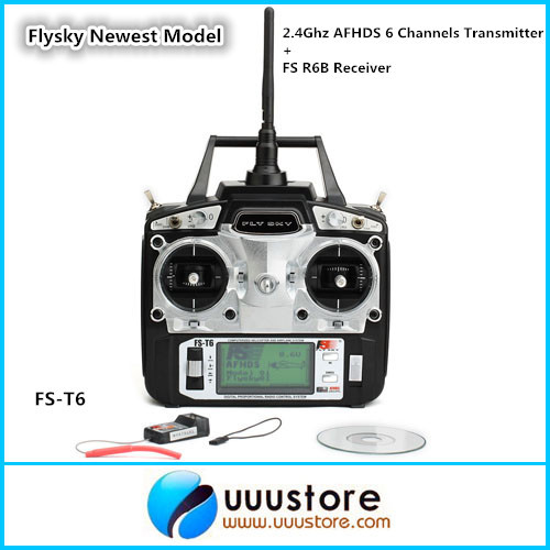 Flysky Newest Model FS-T6 2.4Ghz AFHDS 6 Channels w/ LCD Screen Transmitter + FS R6B Receiver Radio System For Heli Plane niorfnio portable 0 6w fm transmitter mp3 broadcast radio transmitter for car meeting tour guide y4409b