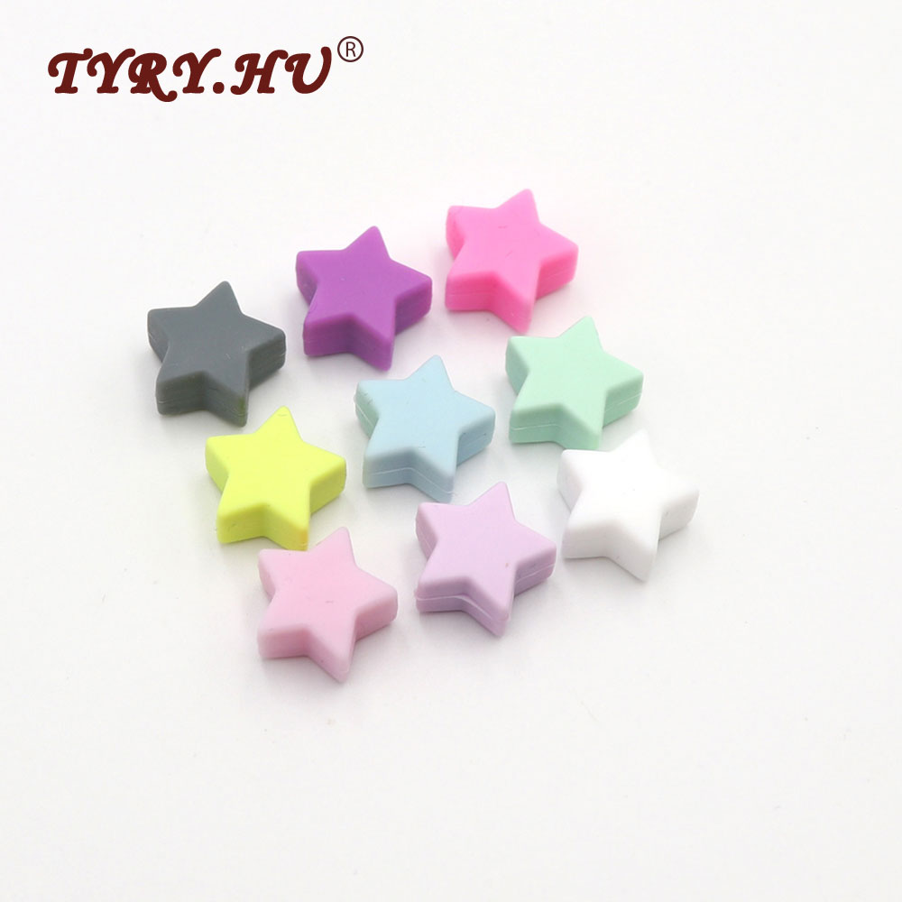 TYRY.HU Original 14mm Star Shaped Silicone Beads 10pcs Food Grade Baby Teether Pendant For DIY Necklace Bracelets Colorful Bead