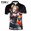 FORUDESIGNS Polos Men Clothes 3D Sexy Harley Quinn Pattern Male Polo Shirts 2017 New Arrivel Spandex Anti-Wrinkle Stylish Shirts