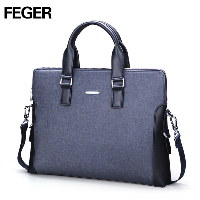 FEGER Fashion Laptop Handbag Shoulder Men Bag Business Messenger Bag PVC Portable Handbag feger nylon men bag business briefcase handbag shoulder bag daily use 13laptop bag free shipping