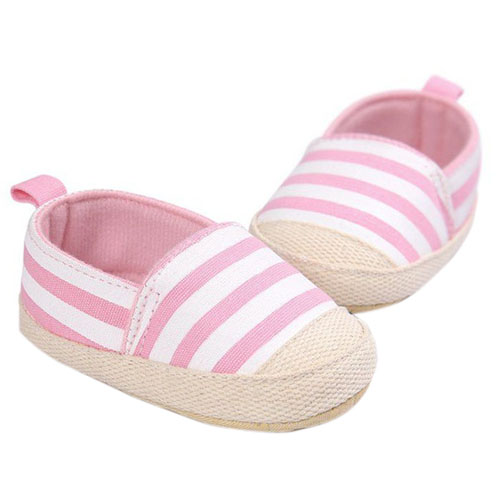 ABWE Best Sale ROMIRUS Cute Baby Shoes Baby Girl Boy Striped Shoes Soft Sole First Walkers Pink 12-18M