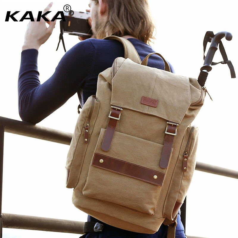 2017 New KAKA Brand Vintage Canvas Backpacks for Men Laptop Backpack Women Retro Travel Bags Large Capacity Versatile Bag Bag