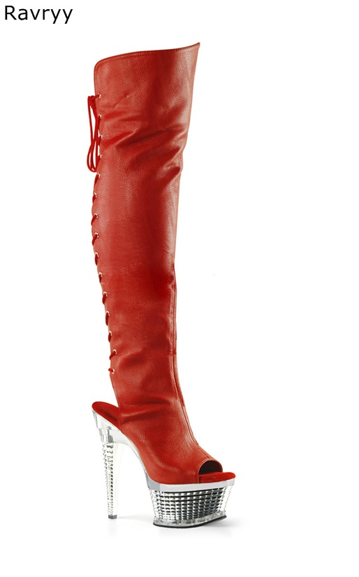 Autumn Fashion Red Cross tied Woman long boots platform heel peep toe Women knee-high boots female acting show club party shoes blue denim cut outs long boots knee high great woman boots thin heel female shoes peep toe fashion shoes night club boots