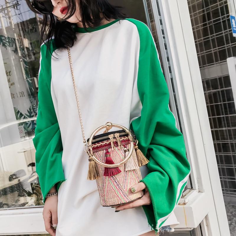 2018 Summer Straw Bags Rattan Woven Beach Shoulder Bags Women Bucket Ladies Crossbody Bag Handbag Female Bohemian Handmade Bolsa in Top Handle Bags from Luggage Bags