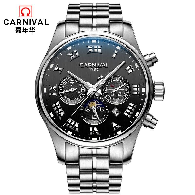 Здесь продается  High quality Mechanical watches Top brand CARNIVAL Automatic Watch Men Moon phase Calendar week month Luminous Skeleton watch  Часы