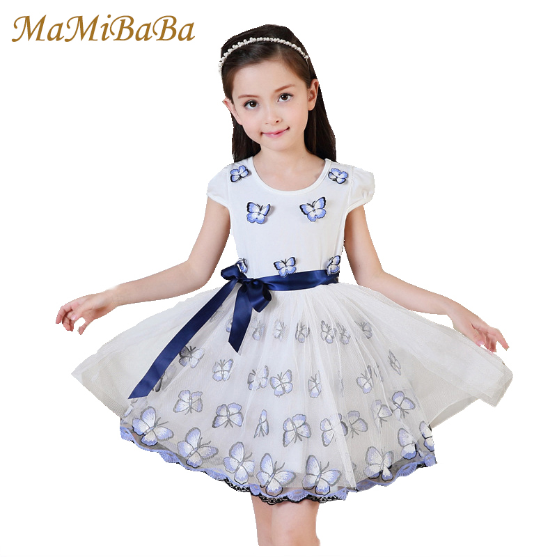 Kids Baby Girls Dresses 2018 New Summer Fashion Butterfly Embroidery O-neck Short Sleeves Cotton Knee-length Dress Clothes Ds563 2016 sale new knee length kids kids dresses for girls free shipping2013 fashion dance dressperformance wear costumes th3004c