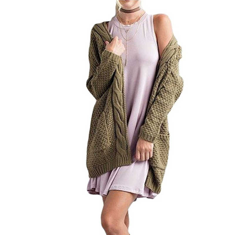 חדש 2019 סוודר נשים ארוך קרדיגן אופנה לעבות Loose ארוך שרוול טוויסט אירופה נשים של סוודרים Vestidos MMY69205