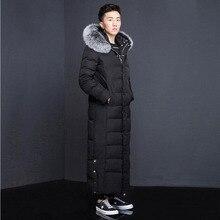 men duck down coat man down jacket thickening over knee down coats warm cold proof overcoat down parkas detachable fur collar