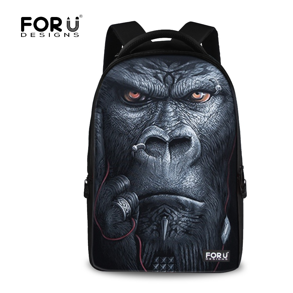 FORUDESIGNS Cool 3D Animal Monkey Wolf Tiger Head Laptop Backpack for Men Women Large Size School Notebook Computer Bagpack