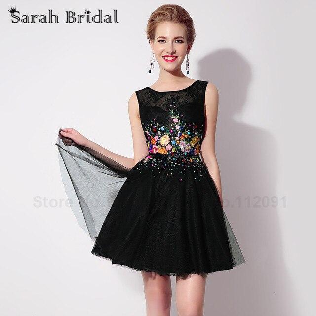 bdc5e71142 Elegante colorido Bordado Vestidos de fiesta sin mangas 2017 Venta caliente  tul negro trajes de gala