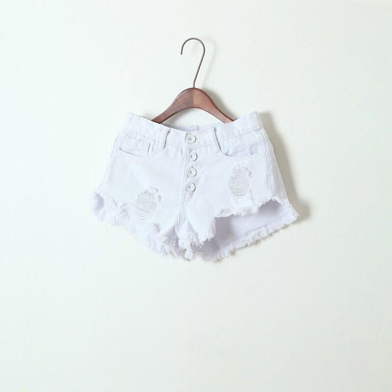 Sale Women Denim White Shorts Destructed Button Front Ripped High Waist Destroyed Distressed Cotton Shorts L EU 36