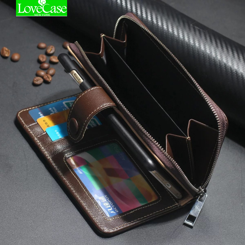 For <font><b>iphone</b></font> 7 Case Real Genuine Leather Case Wallet Cover for <font><b>Iphone</b></font> 7/ 7 Plus Flip Cover Zipper Phone Bag Classic Business case
