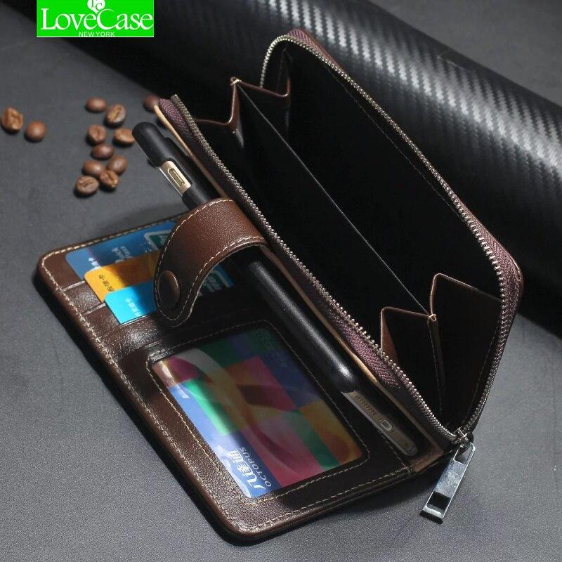 Para iphone X Case Funda de cuero auténtico cartera para iphone 8 7 más Flip cremallera teléfono bolsa clásico caso de negocio