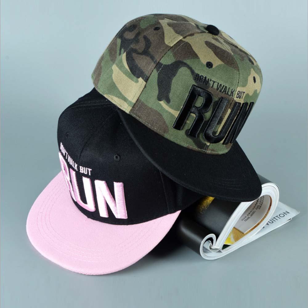 2017 new Runing Letter Snapback Baseball Cap Camouflage Hip Hop Hat For Men Women Street Dance Fashion Aba Reta Pink