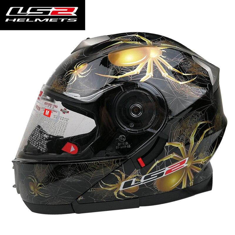 LS2 FF318 moto casque homme femmes flip up plein visage casques M L XL taille amovible intérieure pad double bouclier d'origine LS2 casques