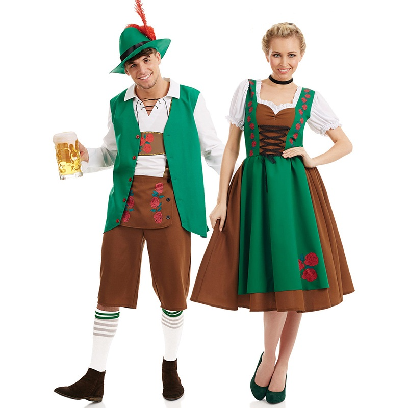 Men Oktoberfest Germanyl Dirndl Dress Women Costume