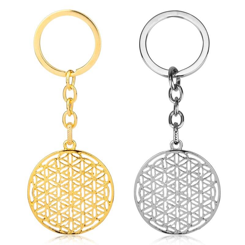 Mandala Tone Flower of Life Key Chain Pendants Key Rings for Woman Accessories Key Holder car key chain chaveiro
