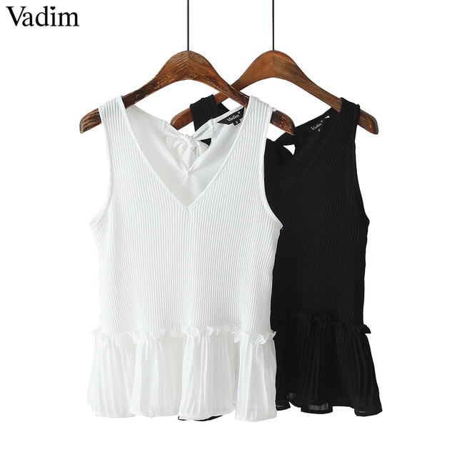 V neck blouse chiffon pleated sleeveless casual shirts