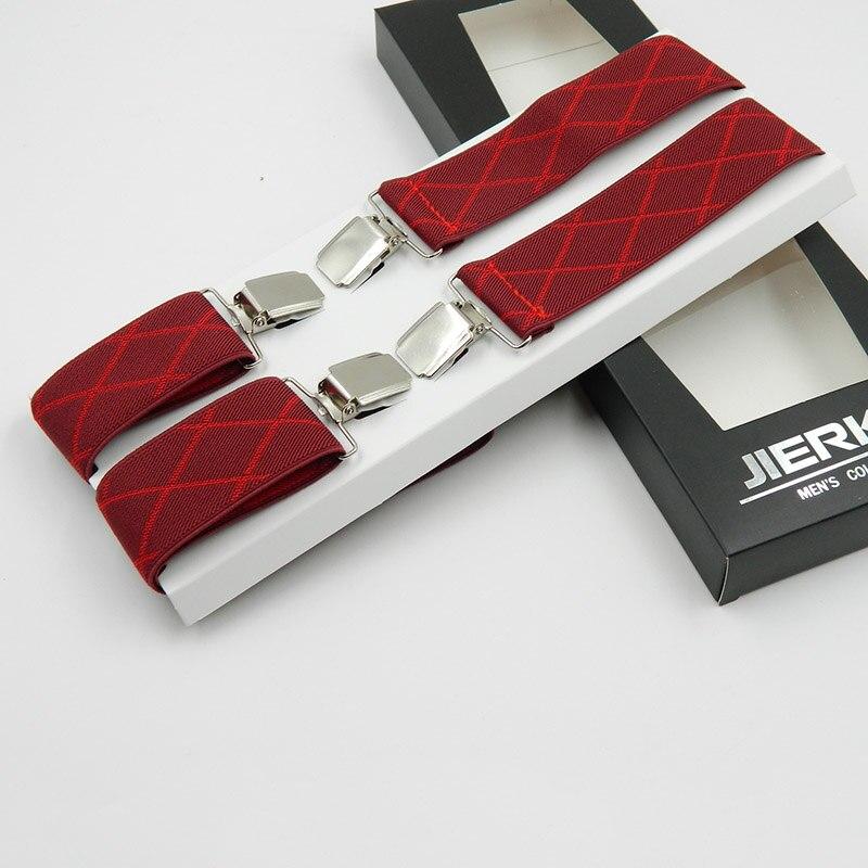 Men Suspenders X-Shape Supports Elastic Suspenders Adjustable Clip-On Belt Business Men Pants Jacquard Braces 3.5cm 3 Color