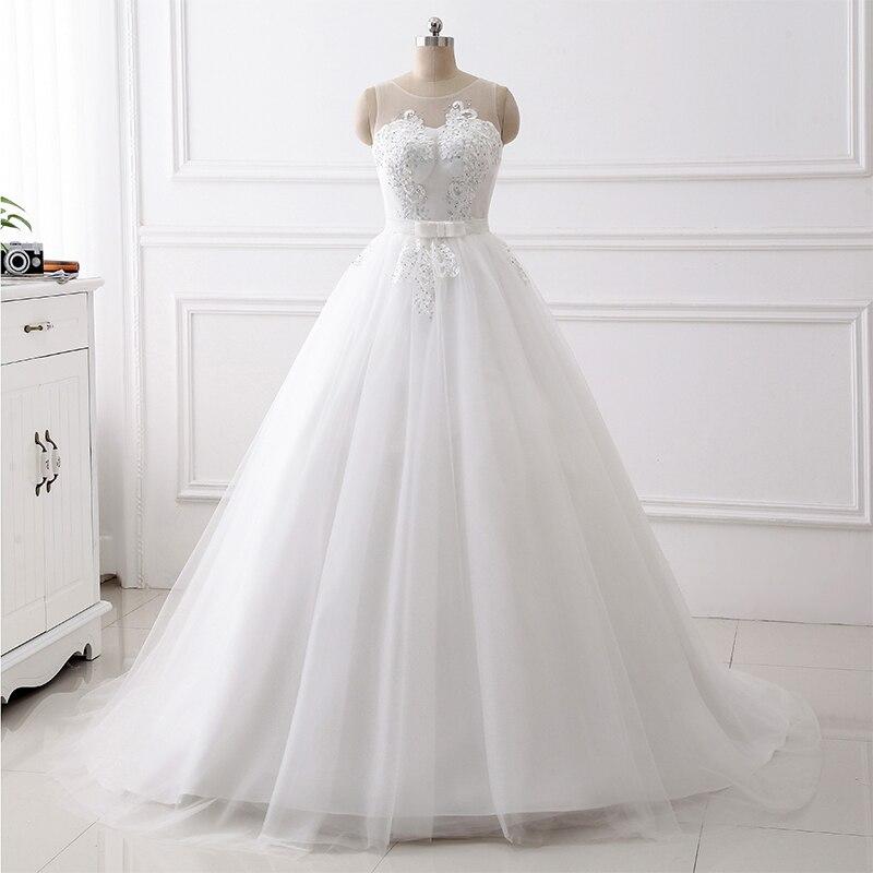 2019 Elegant A-line Wedding Dresses Scoop Neck Sleeveless Bow Belt Simple Bridal Gowns White Ivory Sweep Train Robe De Mariee
