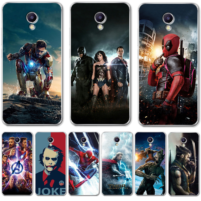 Luxury Joker Marvel Avengers Deadpool For <font><b>Meizu</b></font> <font><b>M3S</b></font> M5 M5S M5C M6 M3 M5 M6 Note U10 U20 Case <font><b>Cover</b></font> Silicone Coque Capinha Etui image