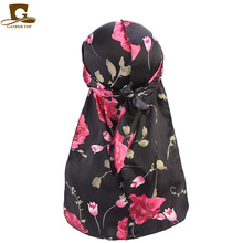 цены Women flower skull tower design silky satin durag floral print Bandanas Headwrap Headband Hair Accessories