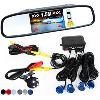 3in1 Video Parking Assistance Sensor Backup Radar With Rear View Camera + 4.3 inch LCD Car Rearview Mirror Monitor Video Parking