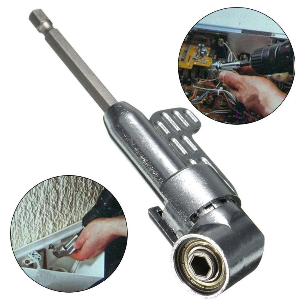 Adjustable Steel 105 Degree Right Angle Screw Driver Hex Screwdriver Holder Power 1/4