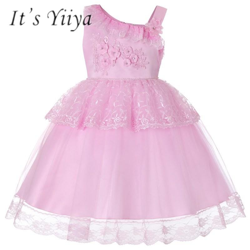 It's YiiYa   Flower     Girl     Dresses   6 Colors Sleeveless O-Neck Floor Length   Girls   Pageant   Dresses   Vestidos De Noches Para Ninas 730