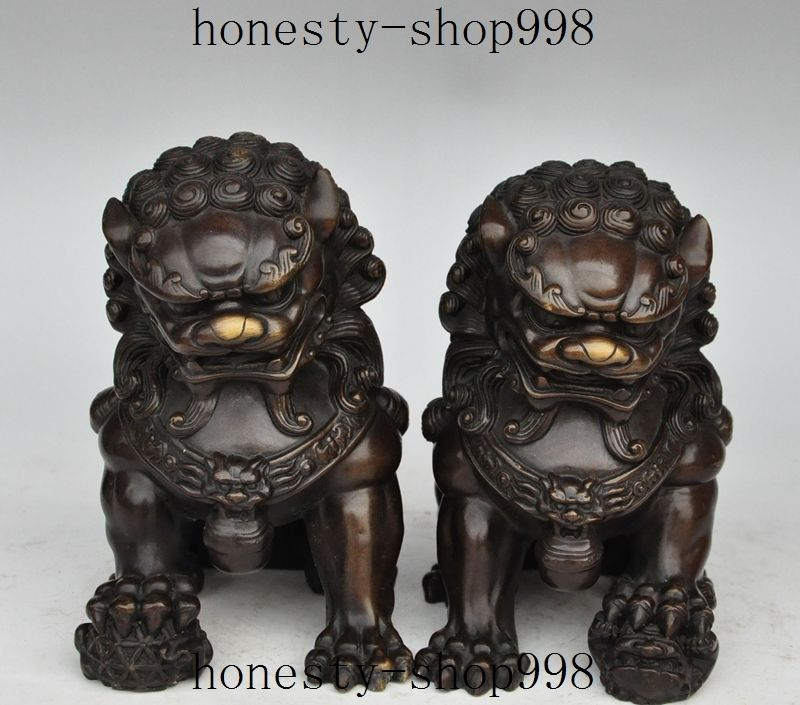 7China Feng shui Lucky Bronze Guardian Door Foo Fu Dog Lion Beast Statue Pair