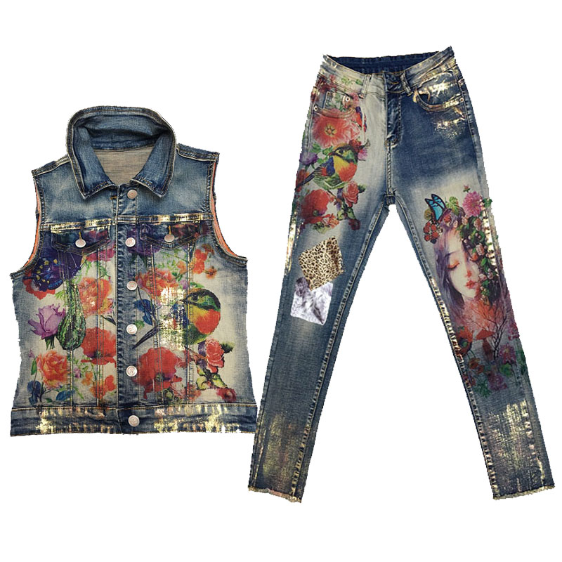 Women's Sexy Elastic Flower Jacket Pants Suit Lady Two Pcs Painting Fashion Trends Skinny Jeans Set Jacket Pants Vest Women-in Women's Sets from Women's Clothing    1