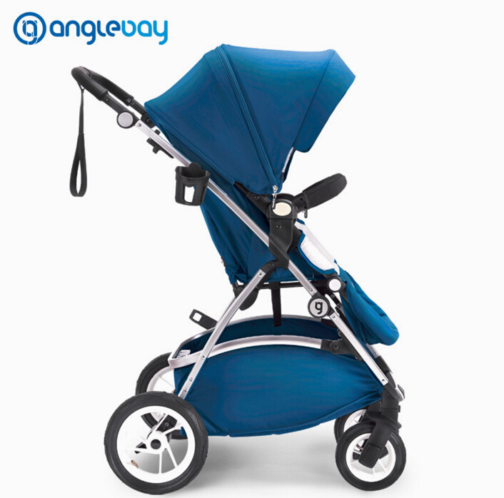 Baby trolley European high landscape baby carriage can be lying can sit dual-use baby stroller handrail adjustable Umbrella cart high profile luxury baby stroller can sit can lying baby carriage hand can adjustable trolley war ax wheel umbrella car