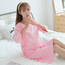 2019 Summer Maternity Pajamas Dots Casual Night Dress Pregnant Thin Plus Breastfeeding Pregnancy Dress Nursing Nightgown