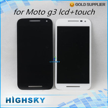 Brand 2015 new black white for Motorola Moto G3 G 3rd Gen lcd display screen with touch digitizer complete 1 piece free HK Post