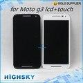 Marca 2015 nueva negro blanco Motorola Moto G3 G 3ro Gen pantalla lcd con táctil digitalizador completo 1 unidades libre del poste de HK